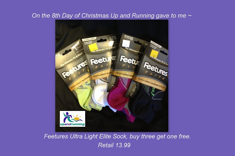 On the 8th day of Christmas Up and Running gave to me ~ Feetures Ultra Light Elite Sock, Buy three get on free. (Retail 13.99)